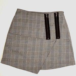 Asymmetrical Plaid Skirt with Zippers EUC